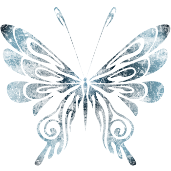 Blue Tribal Butterfly Tattoo