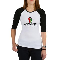 Women's Plus Size V-Neck Dark Black Power Shirt Jr. Raglan