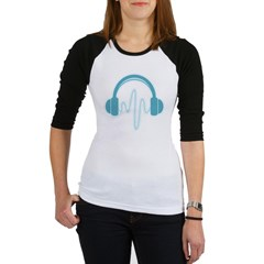 Blue Headphones Maternity Tee (Dark) Jr. Raglan