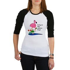 Flamingo on vacation with martini on Jr. Raglan