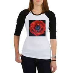 Red Poppy on Black Jr. Raglan