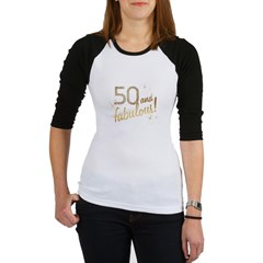 50 and Fabulous Gold and Glitter Jr. Raglan