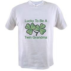 Lucky To Be A Twin Grandma Value T-shirt