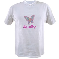 Pink Butterfly Shelly Ash Grey Value T-shirt