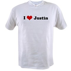 I Love Justin Ash Grey Value T-shirt