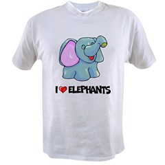 I Love Elephants Ash Grey Value T-shirt