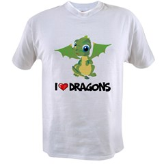 I Love Dragons Ash Grey Value T-shirt