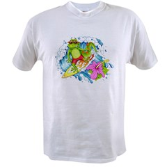 Surfing Gecko Lizard Value T-shirt