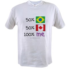 Brazil/Canada Flag Design Value T-shirt