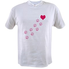 Pink Paw Prints To My Hear Value T-shirt