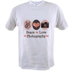 Peace Love Photography Camera Value T-shirt
