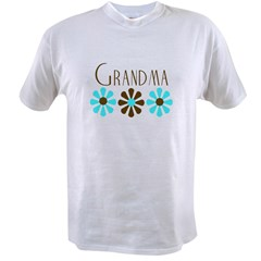 Grandma - Blue/Brown Flowers Value T-shirt