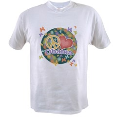 Peace Love Obama [globe] Value T-shirt