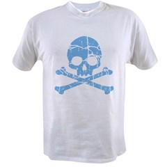 Worn Blue Skull Men's double dry short sleeve mesh Value T-shirt