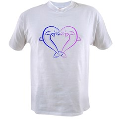 Dolphin Heart Blue and Pink Value T-shirt