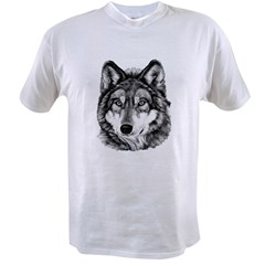 Painted Wolf Grayscale Value T-shirt