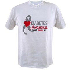 Diabetes Heart Ribbon Value T-shirt