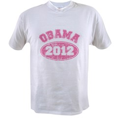 OBAMA 2012 Pink Faded Value T-shirt