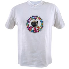 Peace Love Pug Value T-shirt