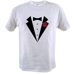 Funny Tuxedo [red rose] Value T-shirt