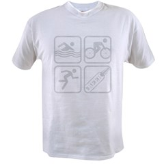 swimbikerunBeer-Grey Value T-shirt