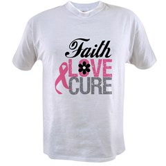 Faith Love Cure Breast Cancer Value T-shirt