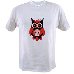 Red Sugar Skull Owl Value T-shirt