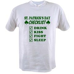 St. Patrick's Day Checklis Value T-shirt