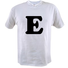Large Letter E Ash Grey Value T-shirt