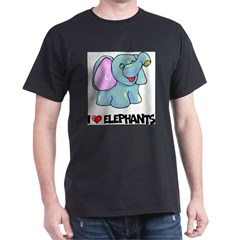 I Love Elephants Ash Grey Dark T-Shirt