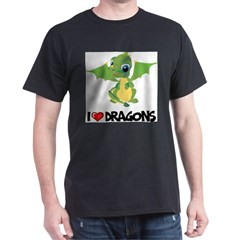 I Love Dragons Ash Grey Dark T-Shirt