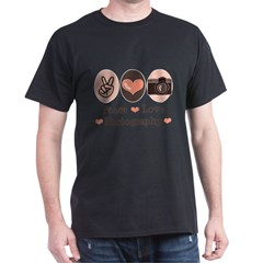 Peace Love Photography Camera Dark T-Shirt