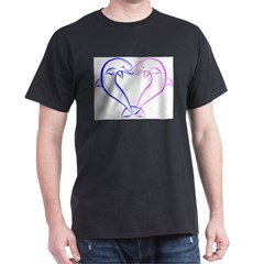 Dolphin Heart Blue and Pink Dark T-Shirt