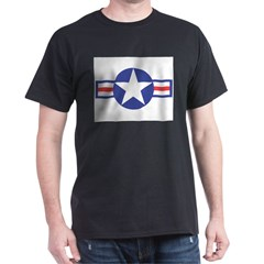US USAF Aircraft Star Ash Grey Dark T-Shirt