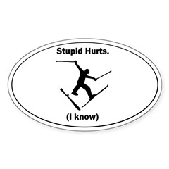 Skiing Stupid Hurts Oval Sticker (Oval 50 pk)
