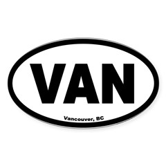Vancouver British Columbia VAN Euro Oval Sticker (Oval 50 pk)