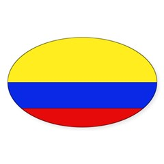Colombian Flag Rectangle Sticker (Oval 50 pk)