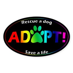Adopt Sticker (Multi on Black) Sticker (Oval 50 pk)