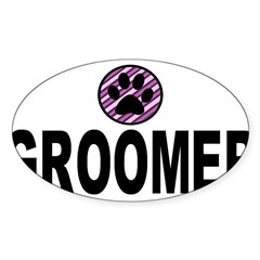 Groomer Purple Stripes Rectangle Sticker (Oval 50 pk)