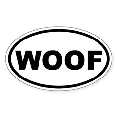 Woof Oval Sticker (Oval 50 pk)
