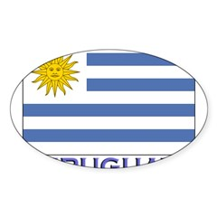 Uruguay Flag Gear Rectangle Sticker (Oval 50 pk)