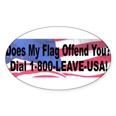 Does My Flag Offend You Sticker (Oval 50 pk)