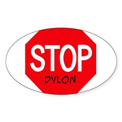 Stop Dylon Sticker (Oval 50 pk)