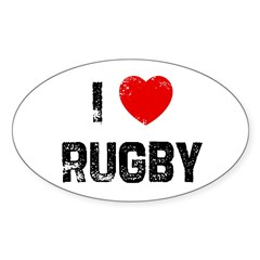 I * Rugby Rectangle Sticker (Oval 50 pk)