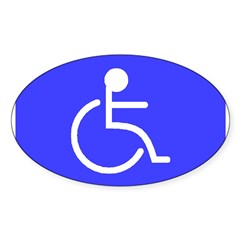 """Disabled"" Rectangle Sticker (Oval 50 pk)"