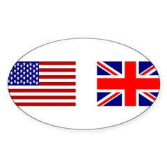 USA & Union Jack Rectangle Sticker (Oval 50 pk)
