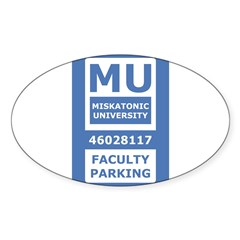 Miskatonic University Parking Pass (Faculty) Sticker (Oval 50 pk)