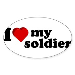 I Love My Soldier Rectangle Sticker (Oval 50 pk)