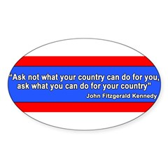JFK Inaugural Quote Sticker (Oval 50 pk)