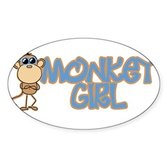 Monkey Girl Oval Sticker (Oval 50 pk)